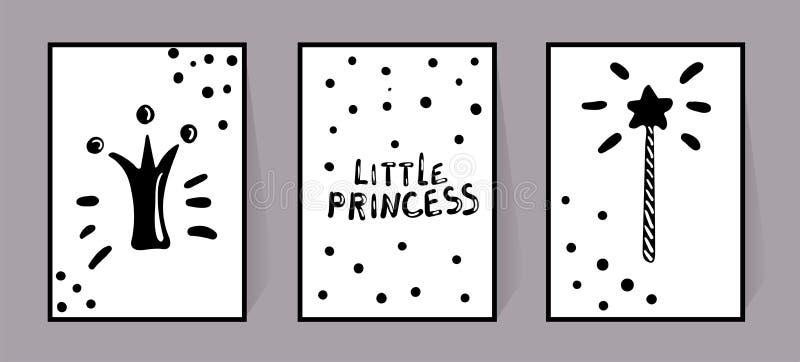 Vektorn ställde in av monokromma affischer med den lilla prinsessan för inskrifter, kronan och den magiska pinnen, modellprick Ba royaltyfri illustrationer