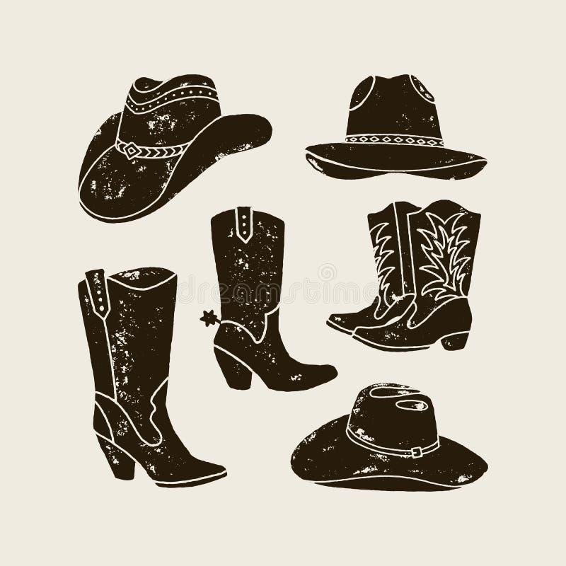 Vektorn ställde in av olik kontur för cowboy Hats och känga stock illustrationer