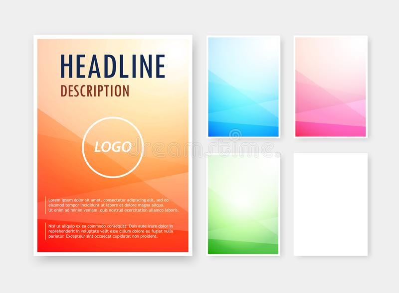 Vektorn ställde in av olika färger för abstrakta bakgrunder på det tomma formatet A6 för broschyren, katalog royaltyfri illustrationer