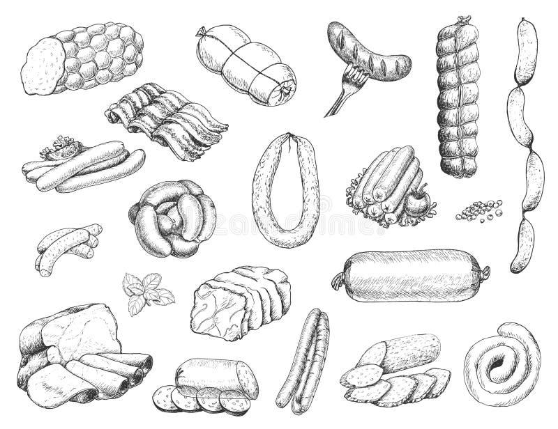 Vektorn ställde in av olika köttprodukter skissar in stil Korvar skinka, bacon, späcker, salami royaltyfri illustrationer
