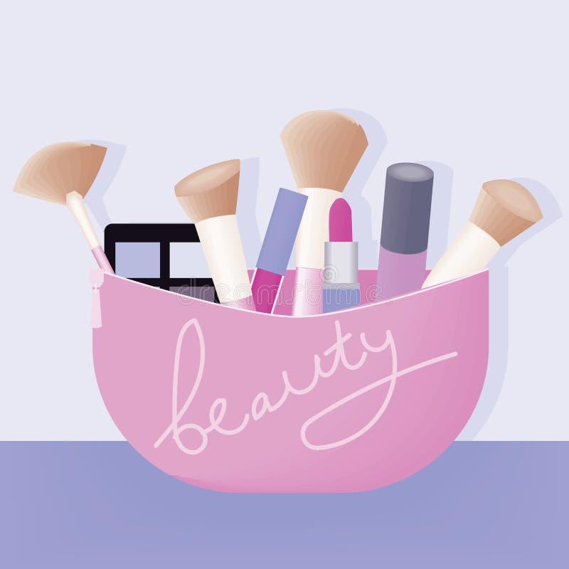 Vektorn ställde in av olika skönhetsmedel för kvinnor royaltyfri illustrationer