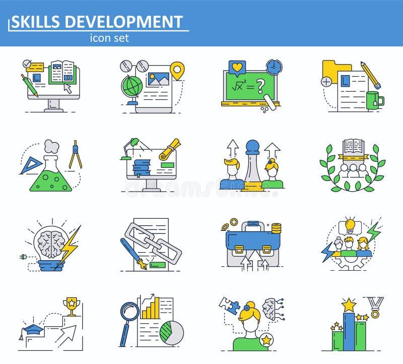 Vektorn ställde in av online-utbildnings-, ledarskap- och affärssymboler i den tunna linjen stil Website UI och mobil rengöringsd stock illustrationer