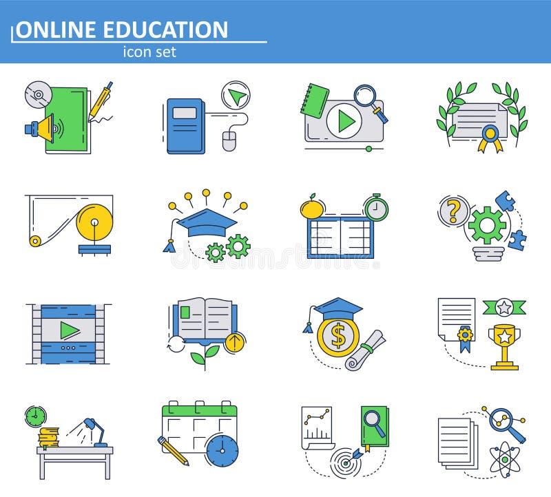 Vektorn ställde in av online-utbildningssymboler i den tunna linjen stil Skola och högskolaonline-tutorials och kurser E-lära stock illustrationer