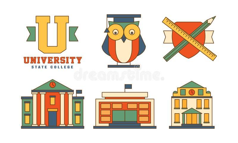 Vektorn ställde in av plana översiktssymboler släkta utbildningstemat Byggnader och uggla i ansvar Original- emblem för stock illustrationer