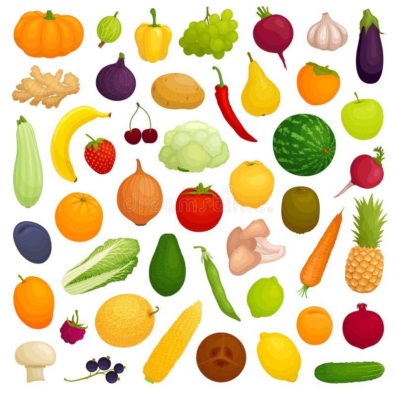 Vektorn ställde in av produkter Hela grönsaker, frukter B?r och champinjoner stock illustrationer