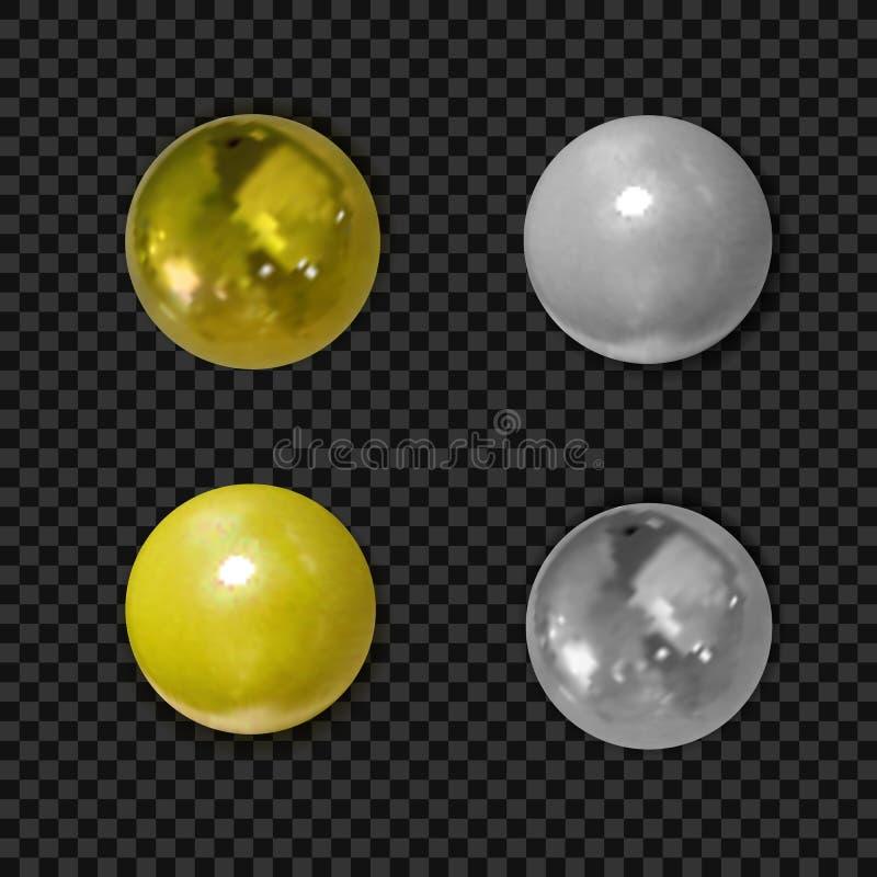 Vektorn ställde in av realistiska guld- och silverbollar som isolerades på svart royaltyfri illustrationer