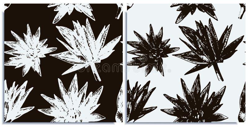 Vektorn ställde in av sömlösa modeller med underbar färgrik lotusblomma, hand-dragit i diagram och verklig-stil samtidigt vektor illustrationer