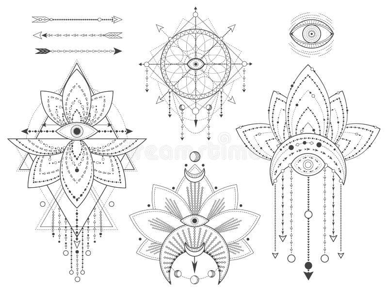 Vektorn ställde in av sakrala geometriska och naturliga symboler på vit bakgrund Den abstrakta mystiker undertecknar samlingen Sv stock illustrationer