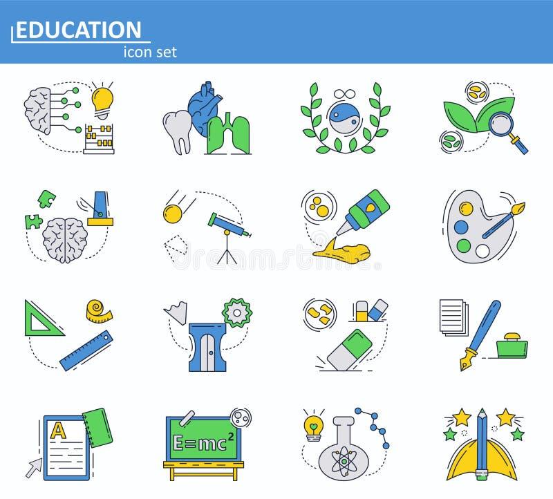 Vektorn ställde in av skola- och högskoleutbildningsymboler i den tunna linjen stil Website UI och mobil rengöringsdukappsymbol Ö stock illustrationer