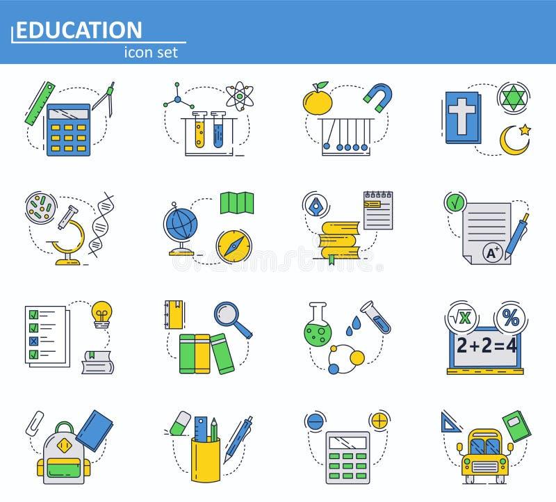 Vektorn ställde in av skolutbildningsymboler i den tunna linjen stil Fysik, kemi, biologi och andra ämnen Website UI och royaltyfri illustrationer