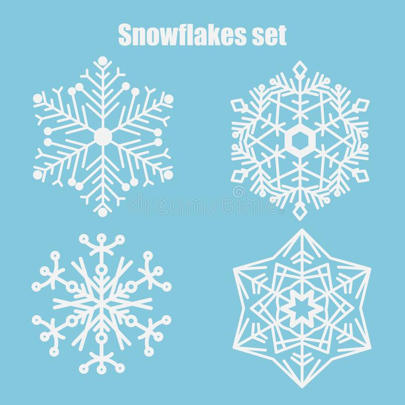 Vektorn ställde in av snöflingor på en blå bakgrund royaltyfri illustrationer