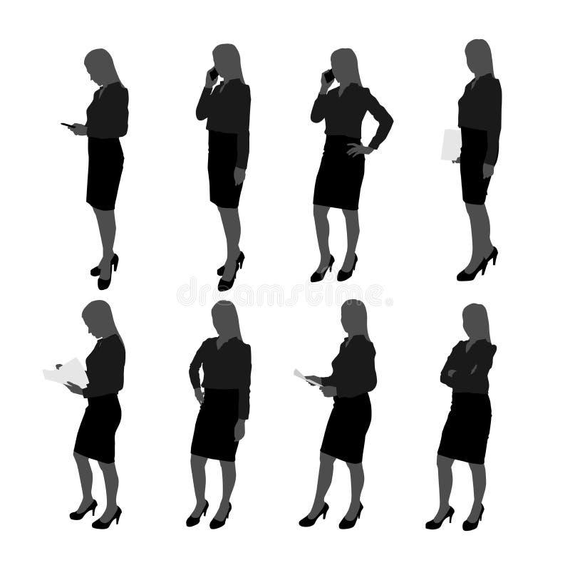 Vektorn ställde in av ställningsaffärskvinnakontur affärskvinna med olik handling liksom att använda mobiltelefonen, posera som a vektor illustrationer