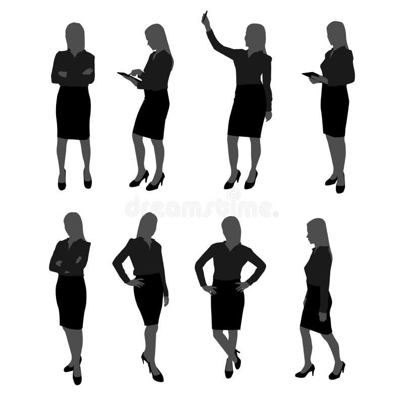 Vektorn ställde in av ställningsaffärskvinnakontur affärskvinna med olik handling liksom att använda mobiltelefonen, posera som a stock illustrationer