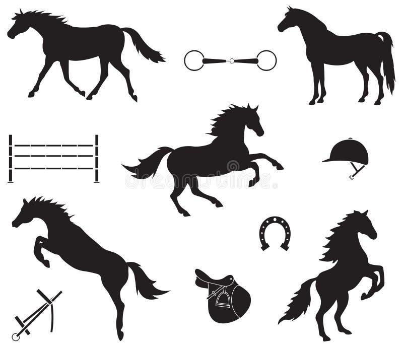 Vektorn ställde in av svart konturhäst och utrustning royaltyfri illustrationer