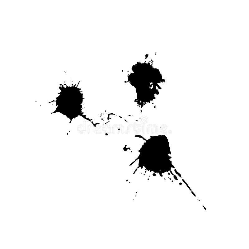 Vektorn ställde in av svarta droppar, målarfärgfärgpulver på vit bakgrund vektor illustrationer