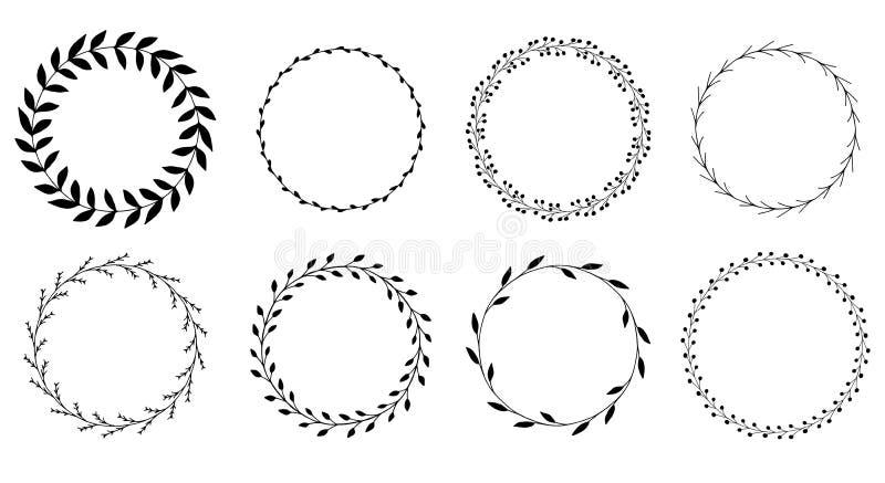Vektorn ställde in av svarta romantiska blom- ramar vektor illustrationer