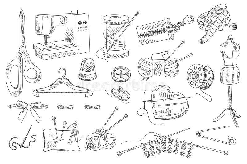 Vektorn ställde in av sy för hand utdragna och sticka symboler Skyltdocka knappar, trådar, symaskin, sax, ben, band stock illustrationer