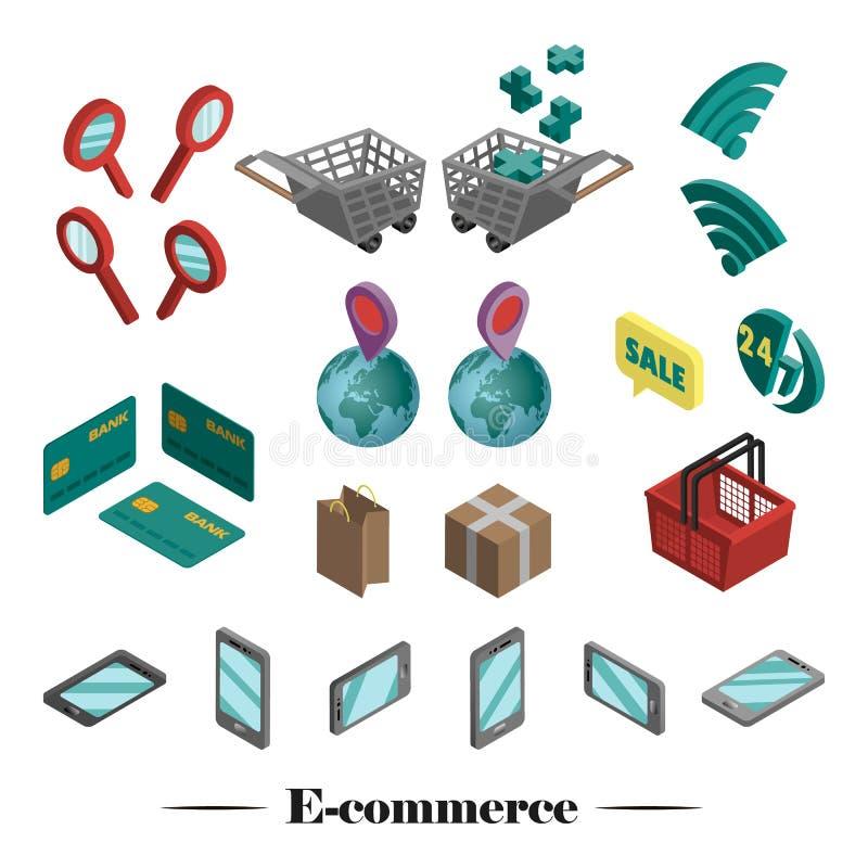 Vektorn ställde in av symboler 3D av e-komrets royaltyfri illustrationer