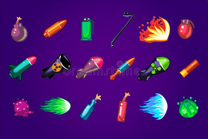 Vektorn ställde in av tecknad filmtillgångar för mobil lek Farliga sprängmedel Missilen bombarderar, dynamit, molotovcocktailen,  royaltyfri illustrationer
