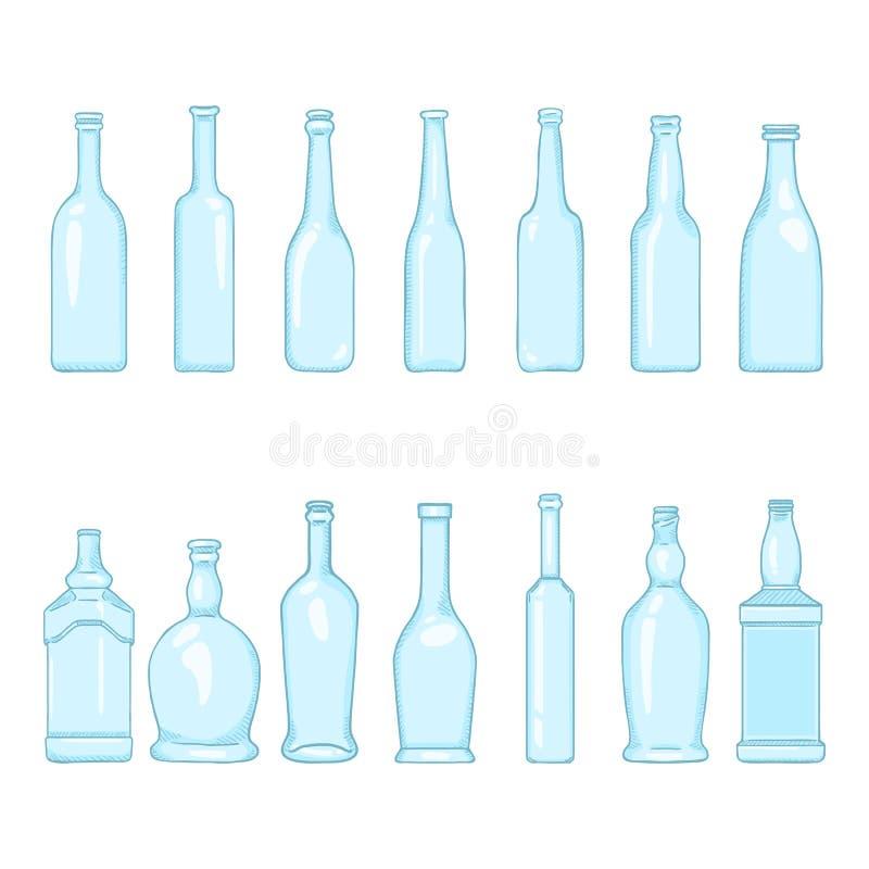 Vektorn ställde in av tomma blåa glasflaskaillustrationer för tecknad film royaltyfri illustrationer