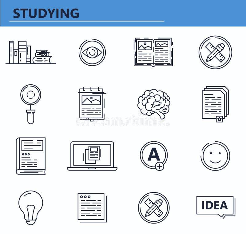 Vektorn ställde in av utbildning, böcker, kunskapssymboler i den tunna linjen stil Website UI och mobil rengöringsdukappsymbol Öv royaltyfri illustrationer
