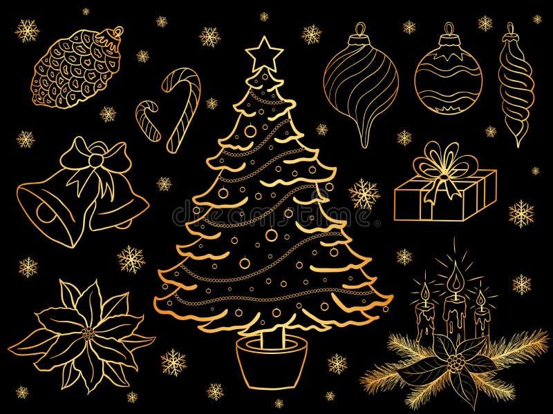 Vektorn ställde in av utdragna guld- julbeståndsdelar för hand royaltyfri illustrationer