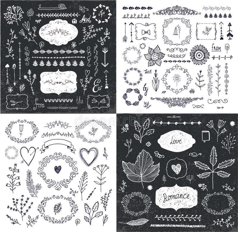 Vektorn ställde in av utdragna klotterfilialer för handen, ramar, gränser, lager Linjär romantisk gifta sig samling, grafisk desi stock illustrationer