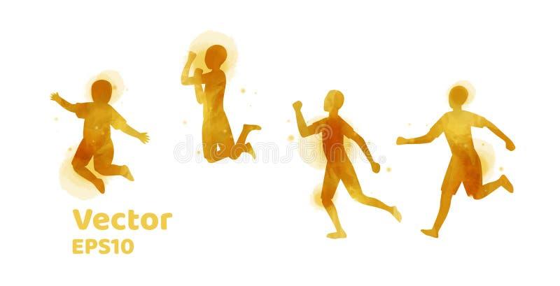 Vektorn ställde in av vattenfärgkonturer av barn lyckliga ungar stock illustrationer