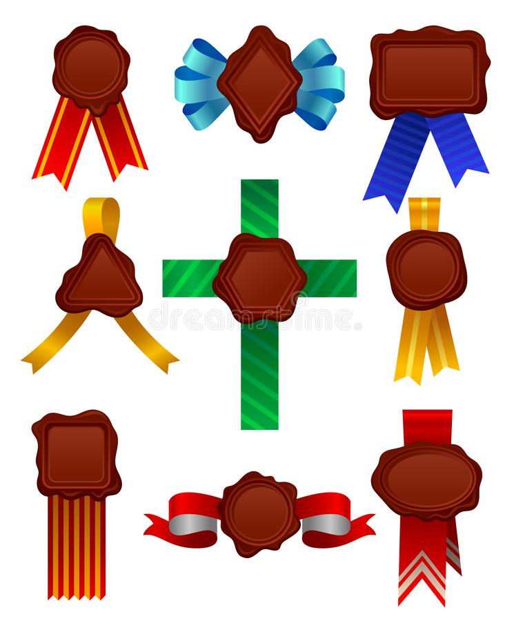 Vektorn ställde in av vaxskyddsremsor av olika former med satängband Dekorativa symboler för tappning Beståndsdelar för diplom el royaltyfri illustrationer