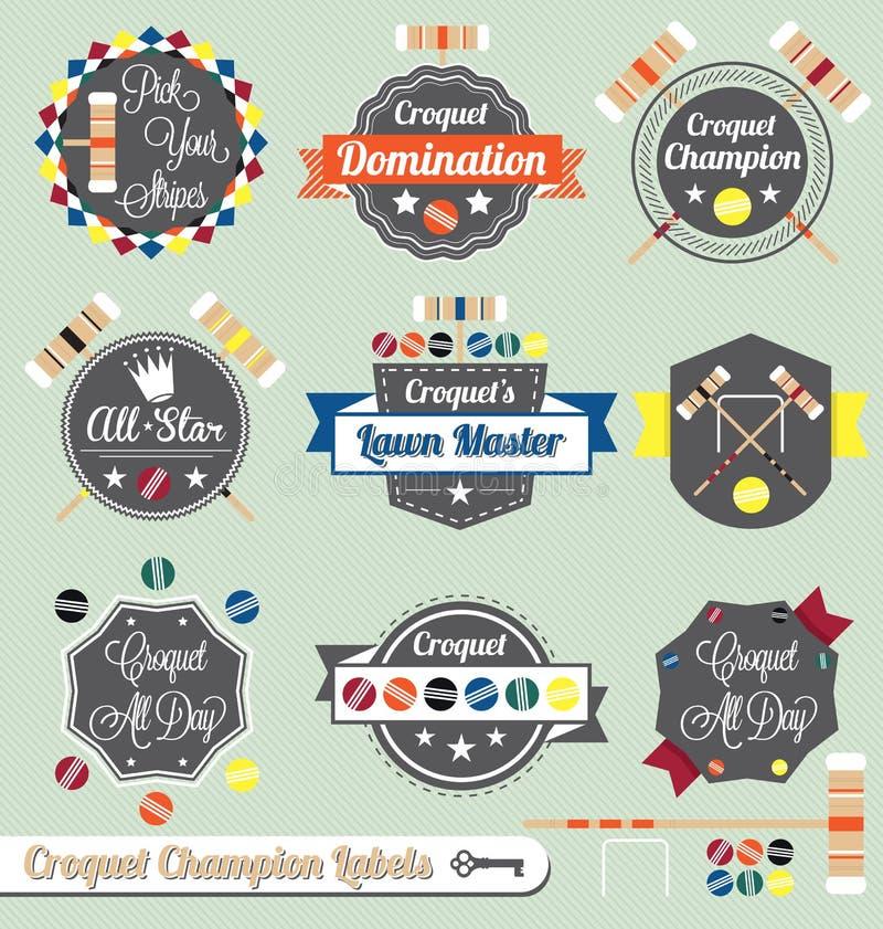 Vektorn ställde in: Croquetmästareetiketter och symboler stock illustrationer