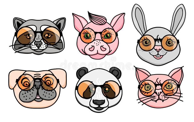 Vektorn ställde in den djura teckenhuvudhunden, tvättbjörnen, svinet, pandan, katt med roliga runda exponeringsglas vektor illustrationer