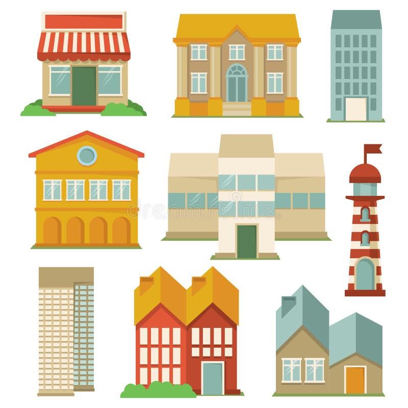Vektorn ställde in med byggnadssymboler vektor illustrationer