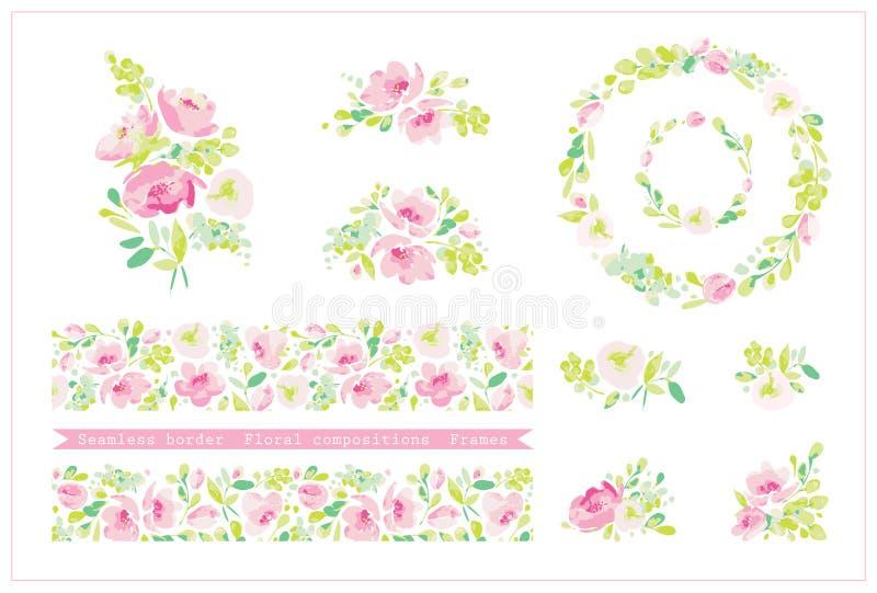 Vektorn ställde in med den blom- sömlösa gränsen, runda ramar och gulliga arstractsammansättningar av rosa blommor, mjuk gräsplan vektor illustrationer