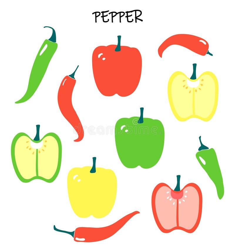 Vektorn ställde in med olika peppar - chili och paprikan, spansk peppar vektor illustrationer