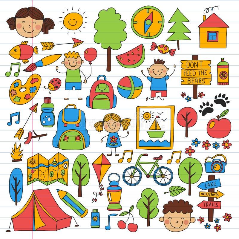 Vektorn st?llde in av att campa och att fotvandra symboler f?r sm? barn Skola- och dagisungar semestrar stock illustrationer