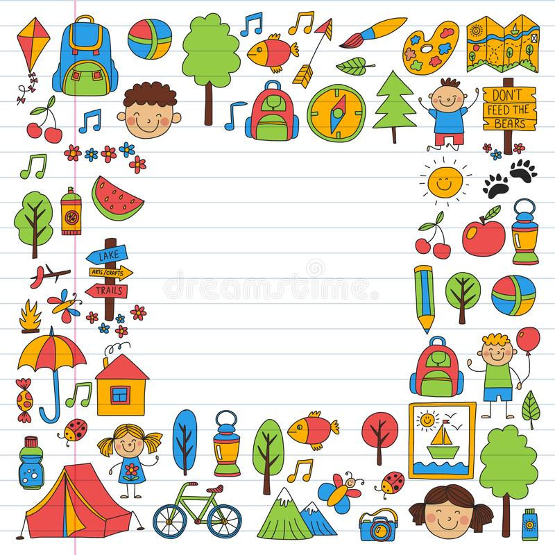 Vektorn st?llde in av att campa och att fotvandra symboler f?r sm? barn Skola- och dagisungar semestrar vektor illustrationer