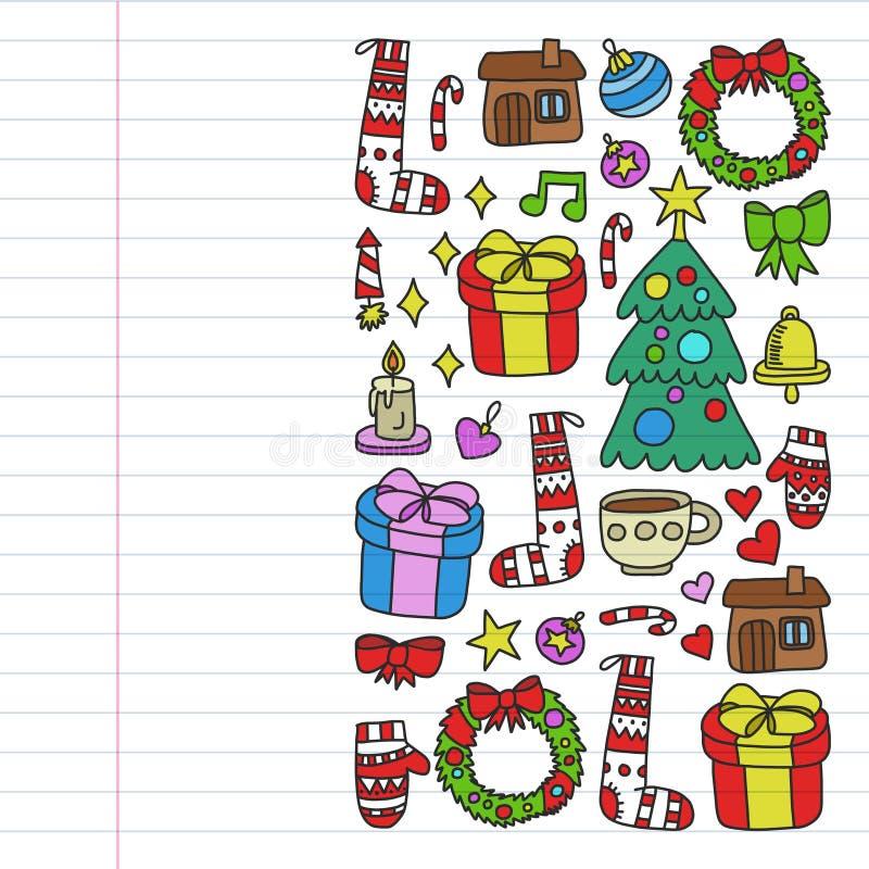 Vektorn st?llde in av jul, feriesymboler i klotterstil M?lat f?rgrikt, bilder p? ett stycke av linj?rt papper p? vit bakgrund royaltyfri illustrationer