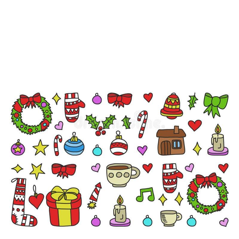 Vektorn st?llde in av jul, ferievinterdagar 2019, 2020, vektorillustration Nytt ?r  ?s-modell, barn  ?s-teckningar med a royaltyfri illustrationer