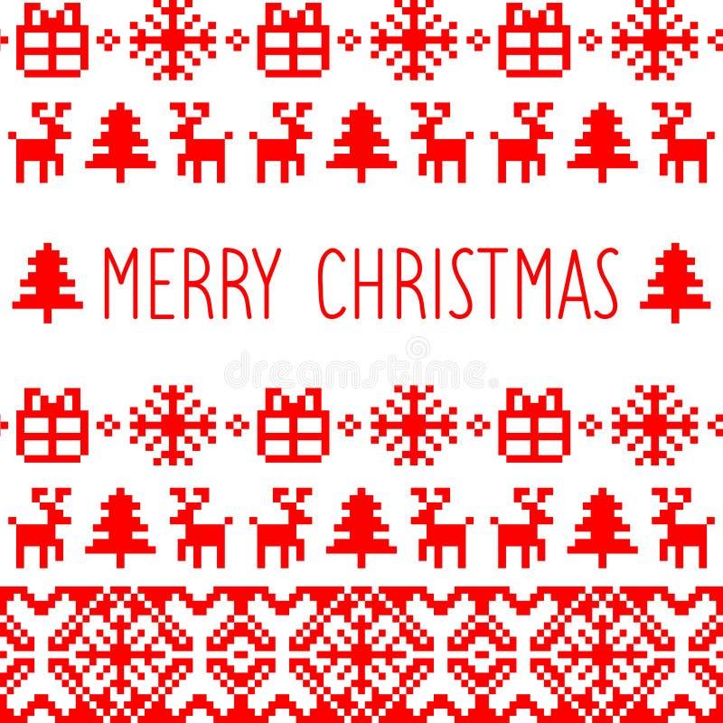 Vektorn stack Kristi födelsemodellen med text för glad jul Lycklig feriePIXELram Färgrik textur för nytt år royaltyfri illustrationer