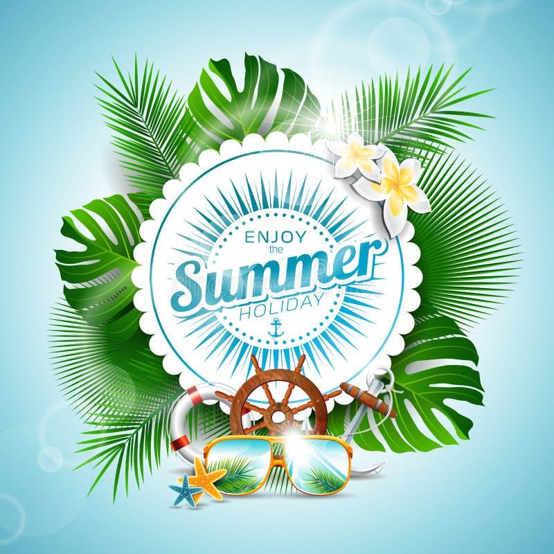 Vektorn tycker om den typografiska illustrationen för sommarferie med tropiska växter och kryddar beståndsdelar på ljus - blå bak royaltyfri illustrationer