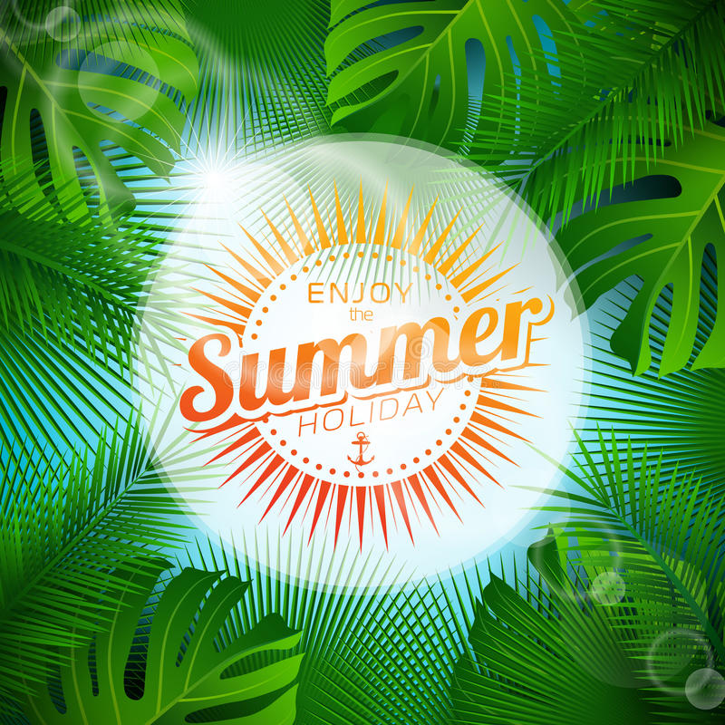Vektorn tycker om den typografiska illustrationen för sommarferie med tropiska växter och solljus på ljus - blå bakgrund royaltyfri illustrationer