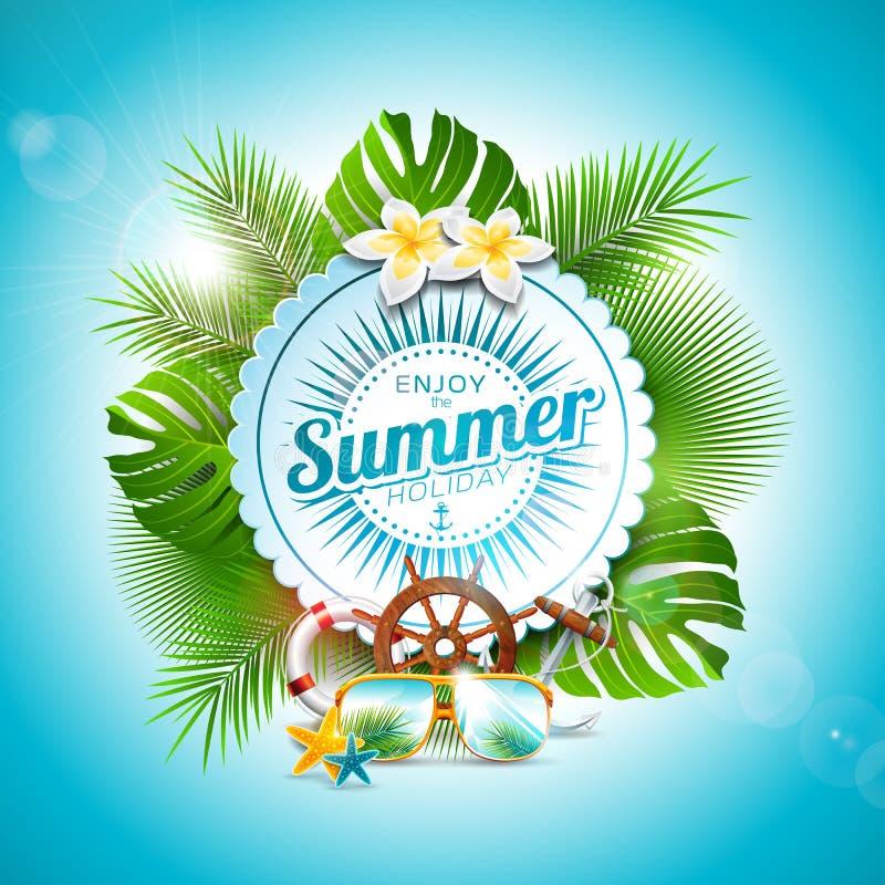 Vektorn tycker om den typografiska illustrationen för sommarferie på bakgrund för vitt emblem och för tropiska växter Blomma royaltyfri illustrationer