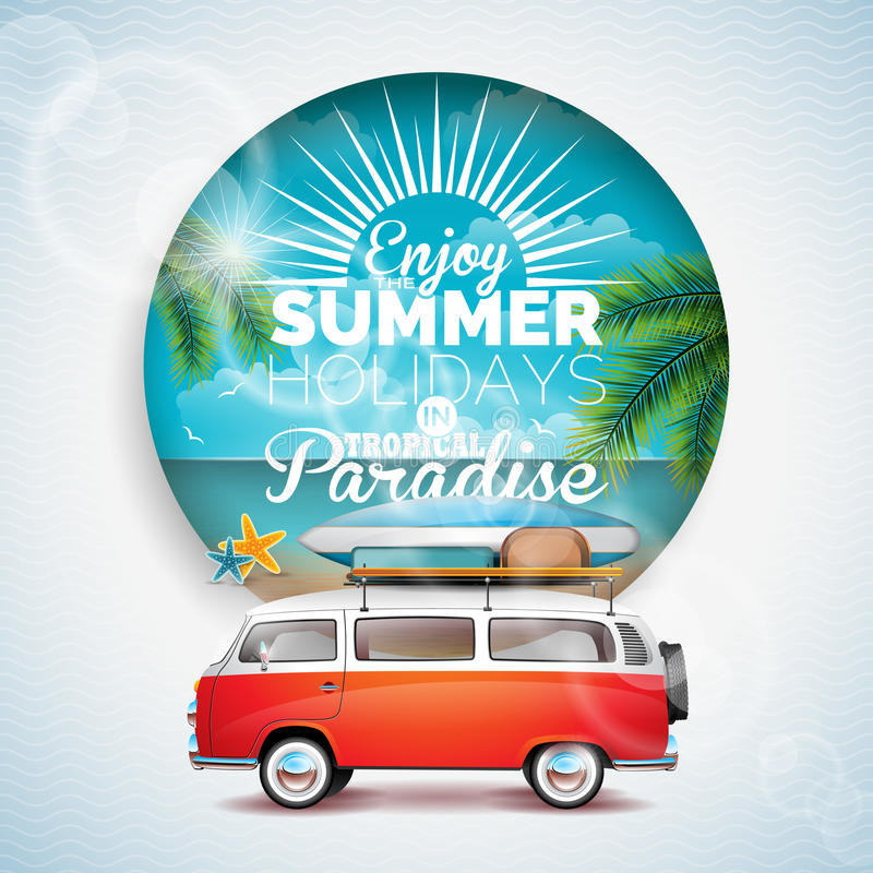 Vektorn tycker om sommarferien i typografisk illustration för tropiskt paradis på blom- bakgrund för tropicatväxter Blå himmel oc royaltyfri illustrationer