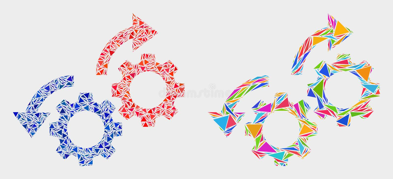 Vektorn utrustar den mosaiska symbolen för rotationspilar av trianglar royaltyfri illustrationer