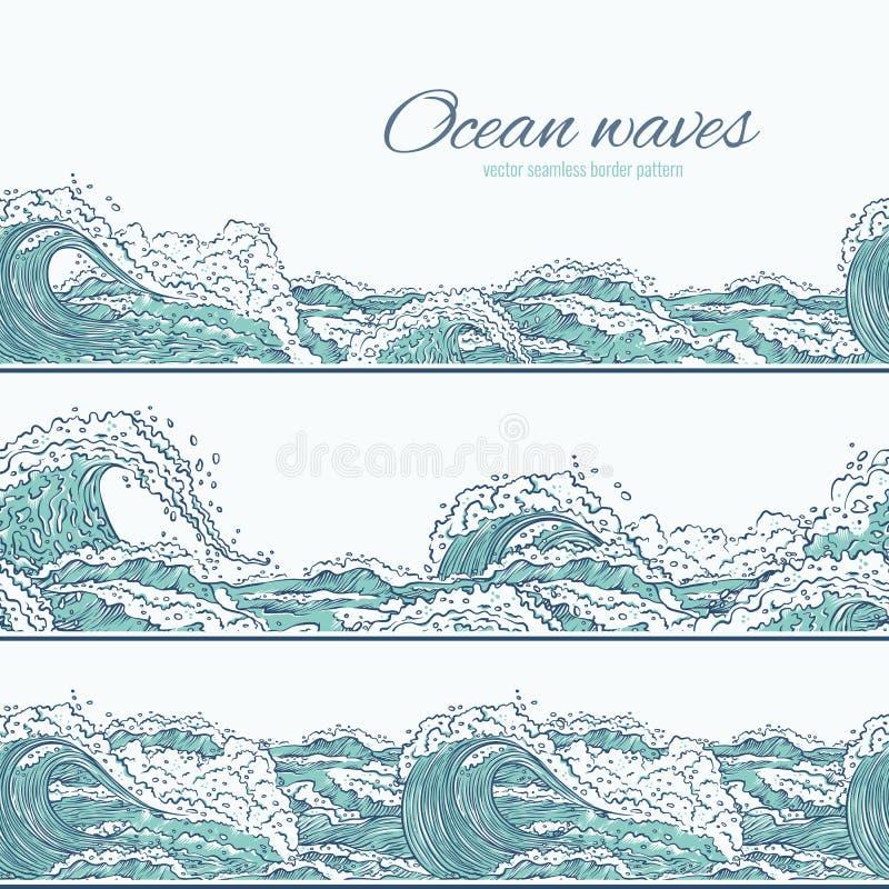 Vektorn vinkar gränsen för modellen för havshavet den sömlösa Stora och små azura bristningar plaskar med skum och bubblor Översi vektor illustrationer