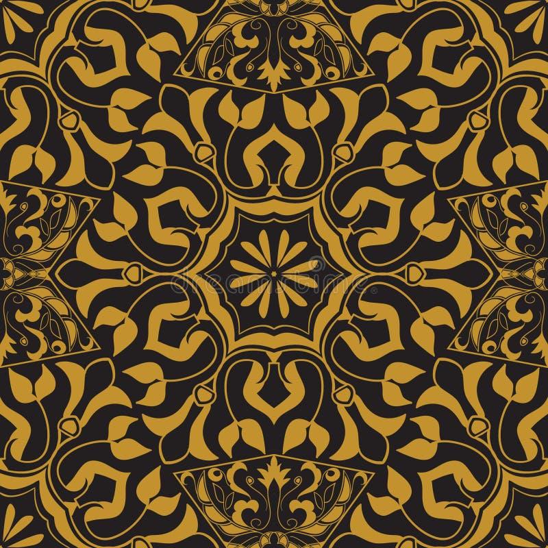 Vektornahtlose Beschaffenheit Goldenes Weinlesemuster auf schwarzem Hintergrund Arabeske und Blumenverzierungen vektor abbildung