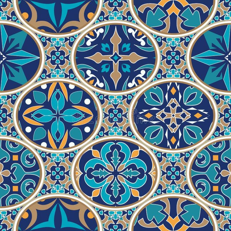 Vektornahtlose Beschaffenheit Mosaikpatchworkverzierung mit ovalen Elementen Portugiesische azulejos dekoratives Muster lizenzfreie abbildung