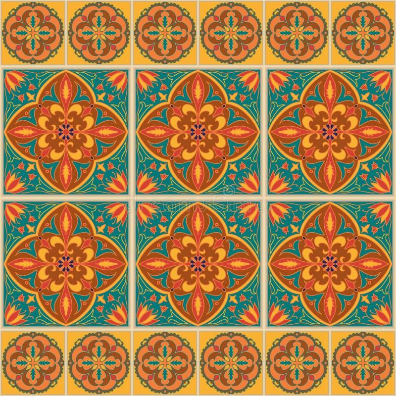 Vektornahtlose Beschaffenheit Schönes farbiges Muster für Design und Mode mit dekorativen Elementen und Grenzen vektor abbildung