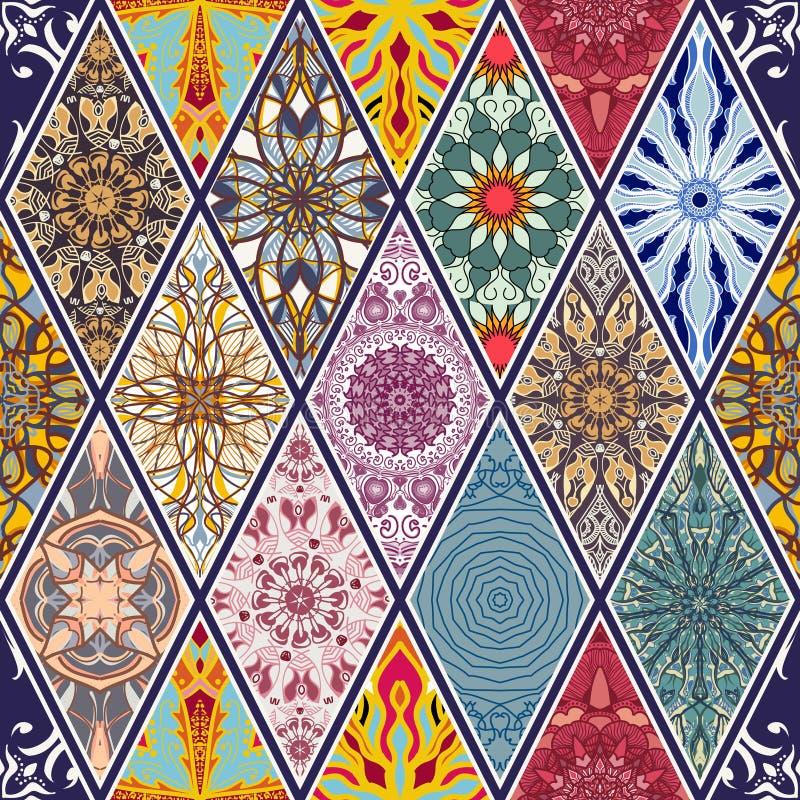 Vektornahtlose Beschaffenheit Schönes Mega- Patchworkmosaikmuster für Design und Mode mit dekorativen Elementen in der Raute vektor abbildung