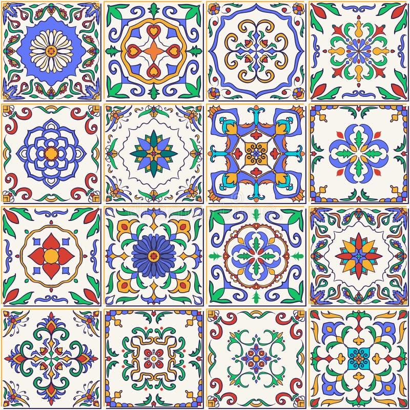 Vektornahtlose Beschaffenheit Schönes Patchworkmuster für Design und Mode mit dekorativen Elementen stock abbildung